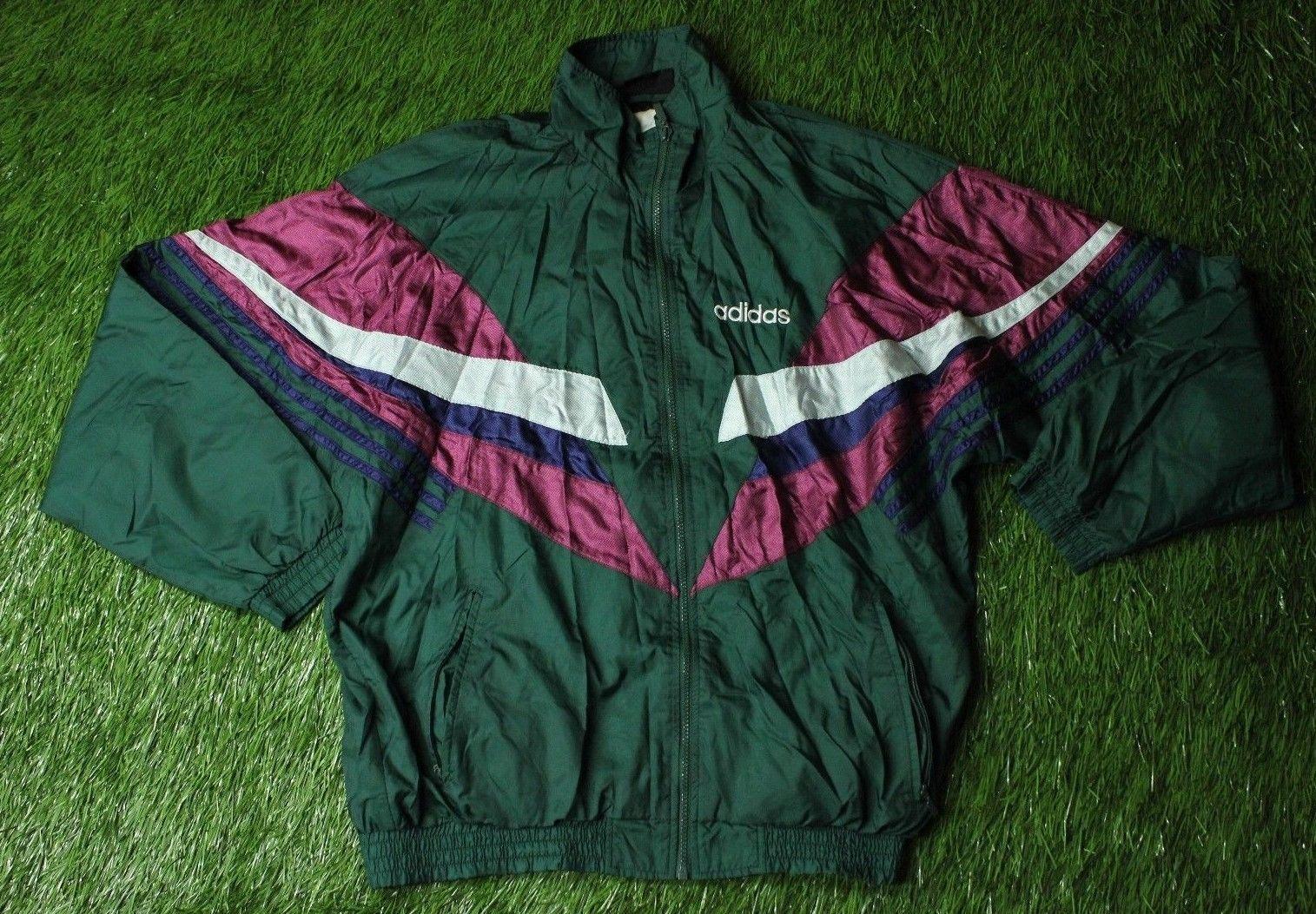 Adidas windbreaker track jacket silver black and Depop