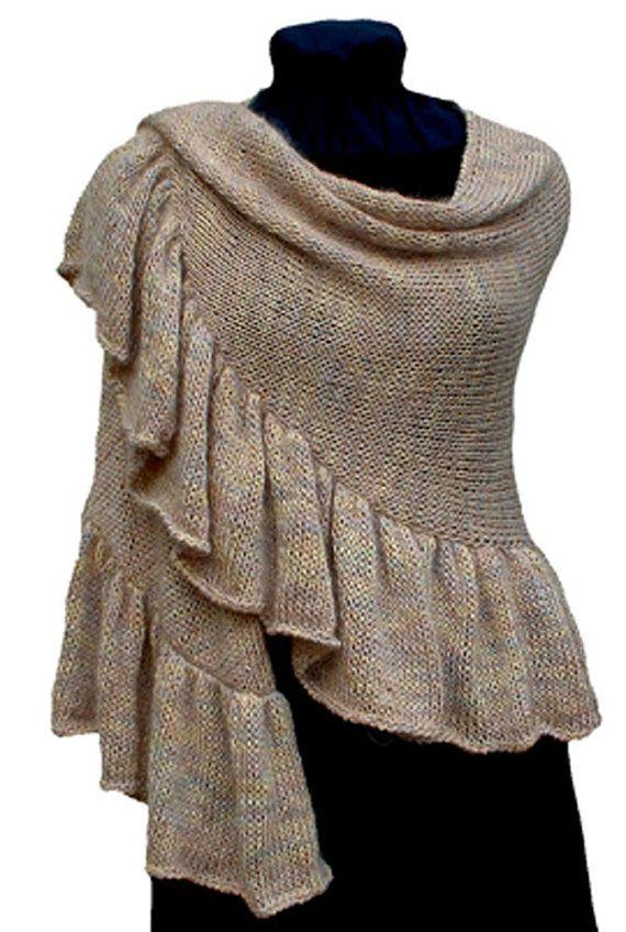 Knitting Pattern, Ruffled Shawl, Crescent, Knitting Pattern PDF ...
