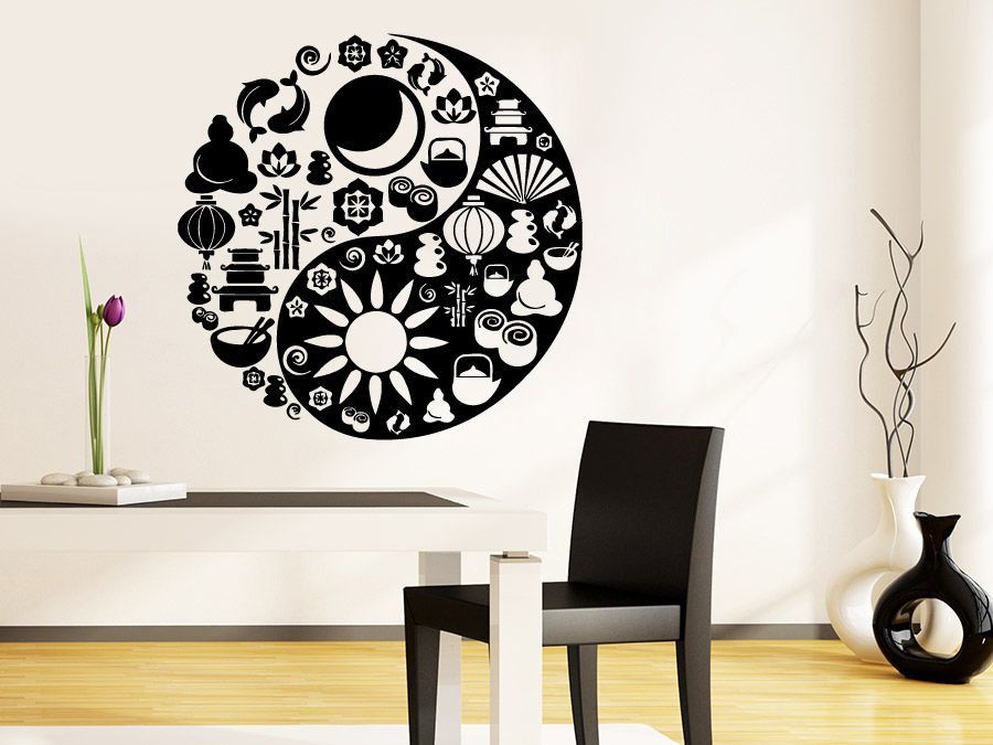 Yin Yang Wall Decal Mandala Sticker Ornament Indian Vinyl Yoga - Zen wall decalsvinyl wall decal yin yang yoga zen meditation bedroom decor