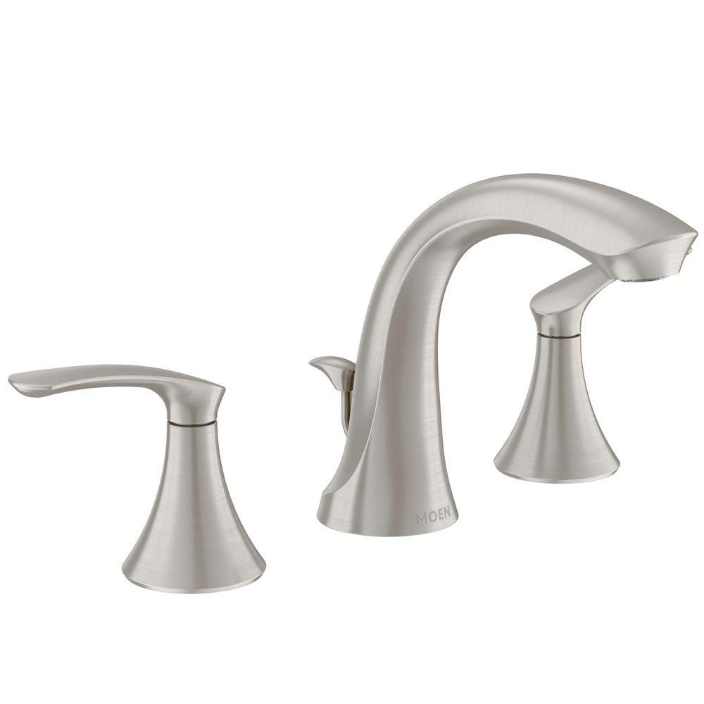 Moen Darcy 8 In Widespread 2 Handle Bathroom Faucet In Spot Resist Brushed Nickel 84551sr High Arc Bathroom Faucet Widespread Bathroom Faucet Bathroom Faucets