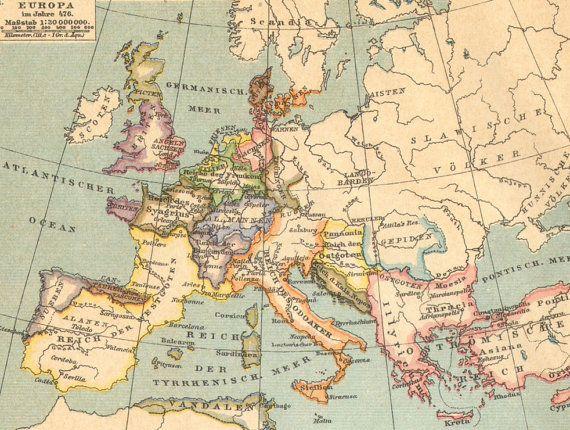 1904 Original Antique Historical Map Of Europe 5th 17th Century