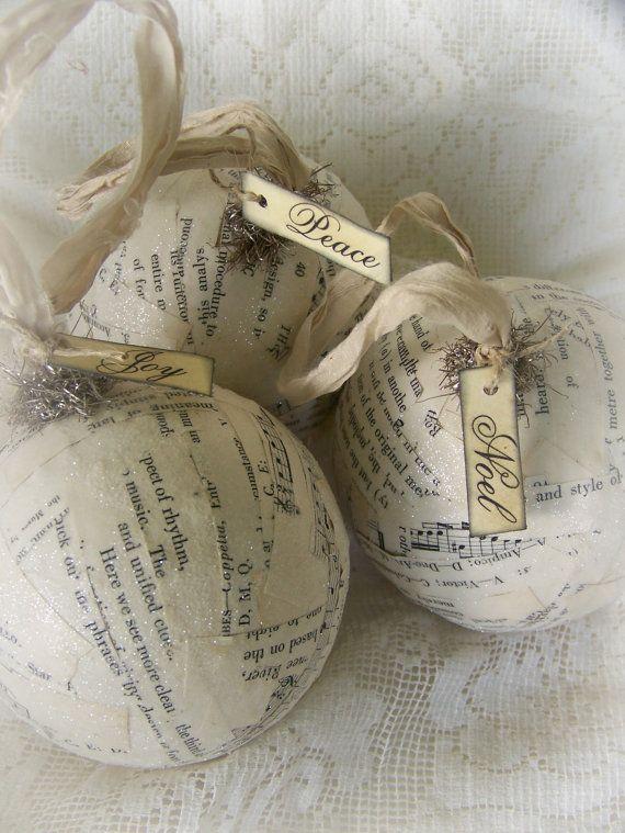 3 Winter White Christmas Ornaments