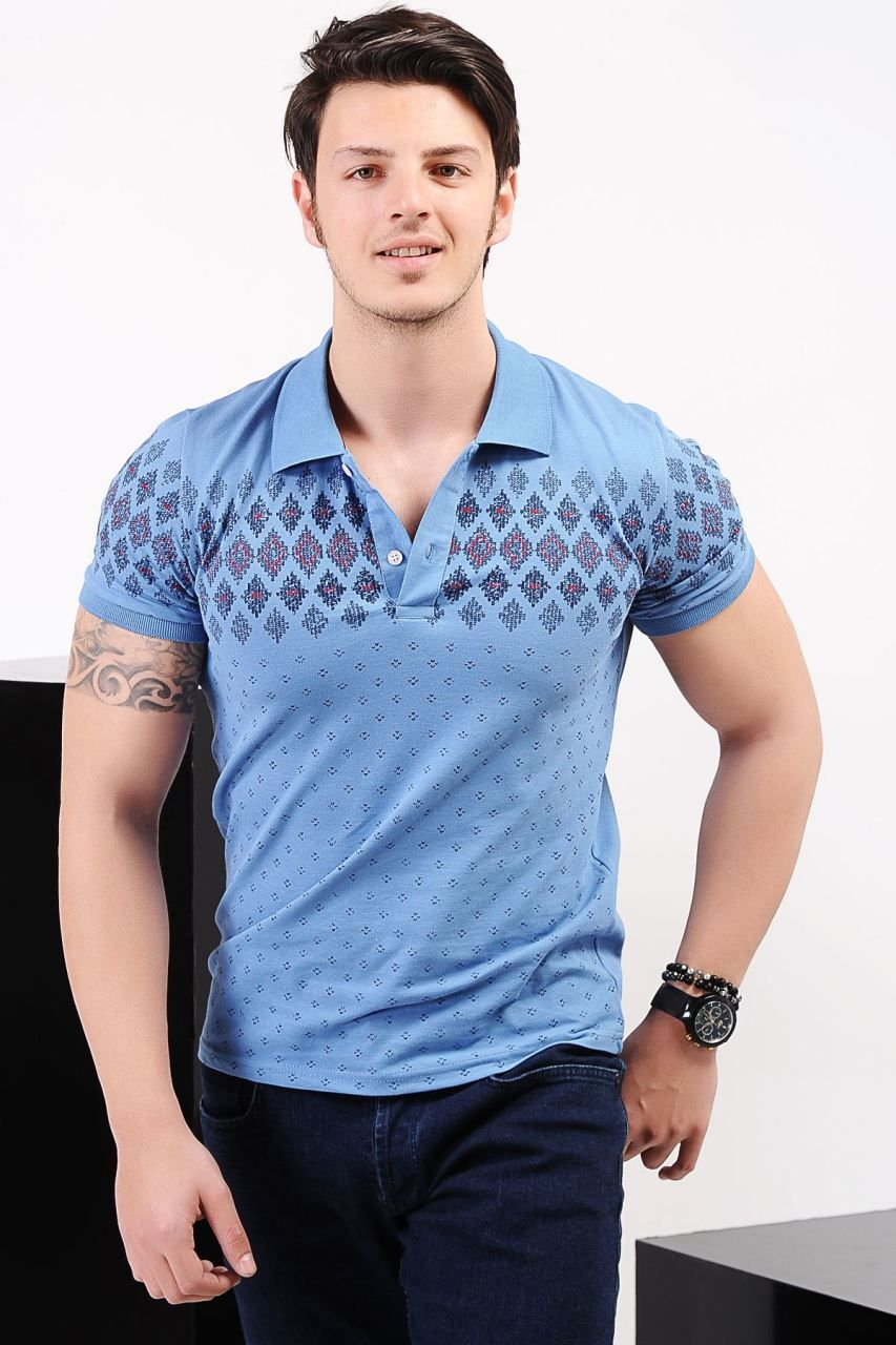 Polo Yaka Desenli Acik Mavi T Shirt Giyim Indirim Kampanya Bayan Erkek Bluz Gomlek Trenckot Hirka Etek Ye Erkek Tisort Tisort Modelleri Erkek Giyim
