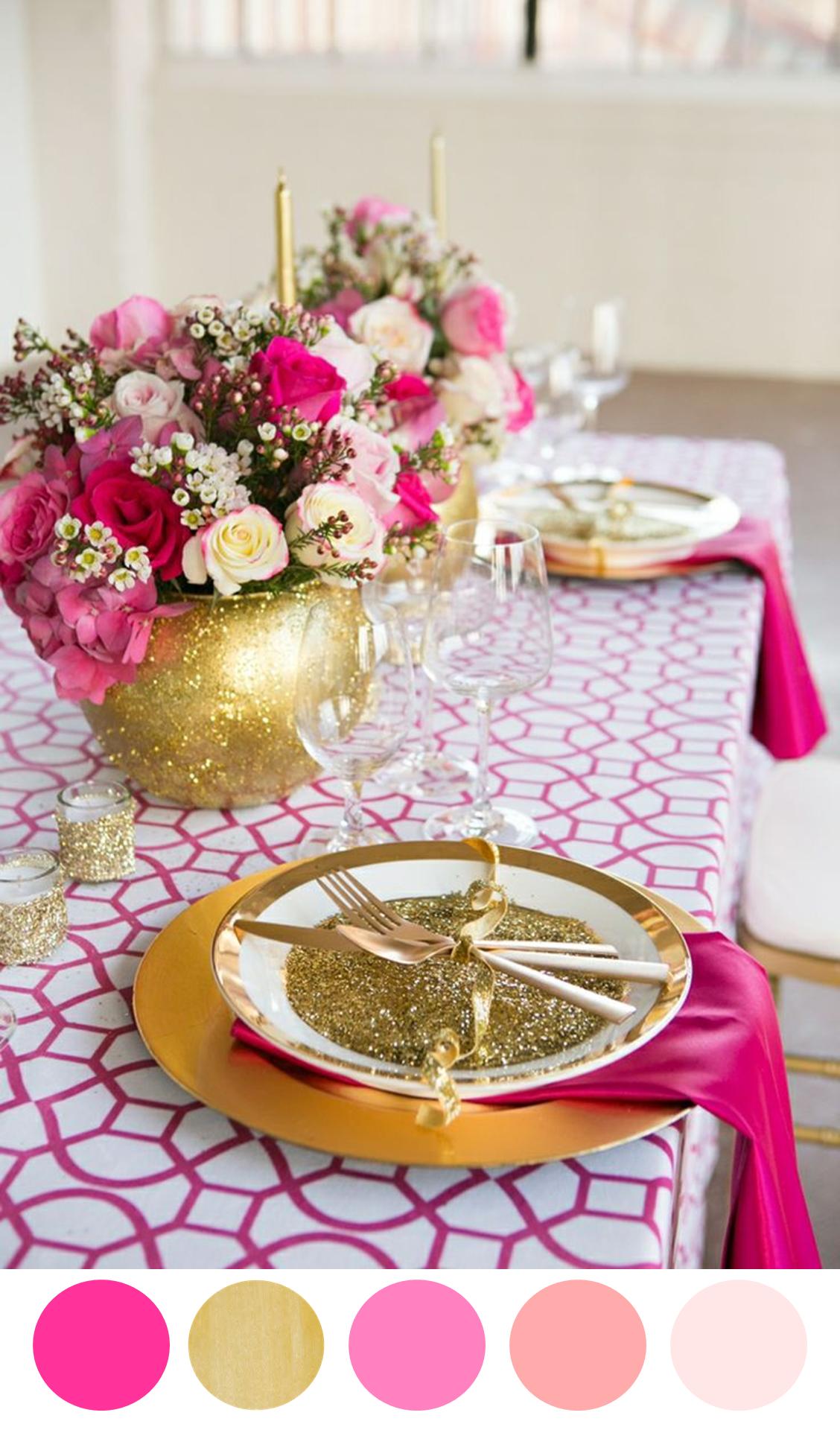 8 Color Inspiring Place Settings Bright Beautiful Hot Pink Weddingsgold