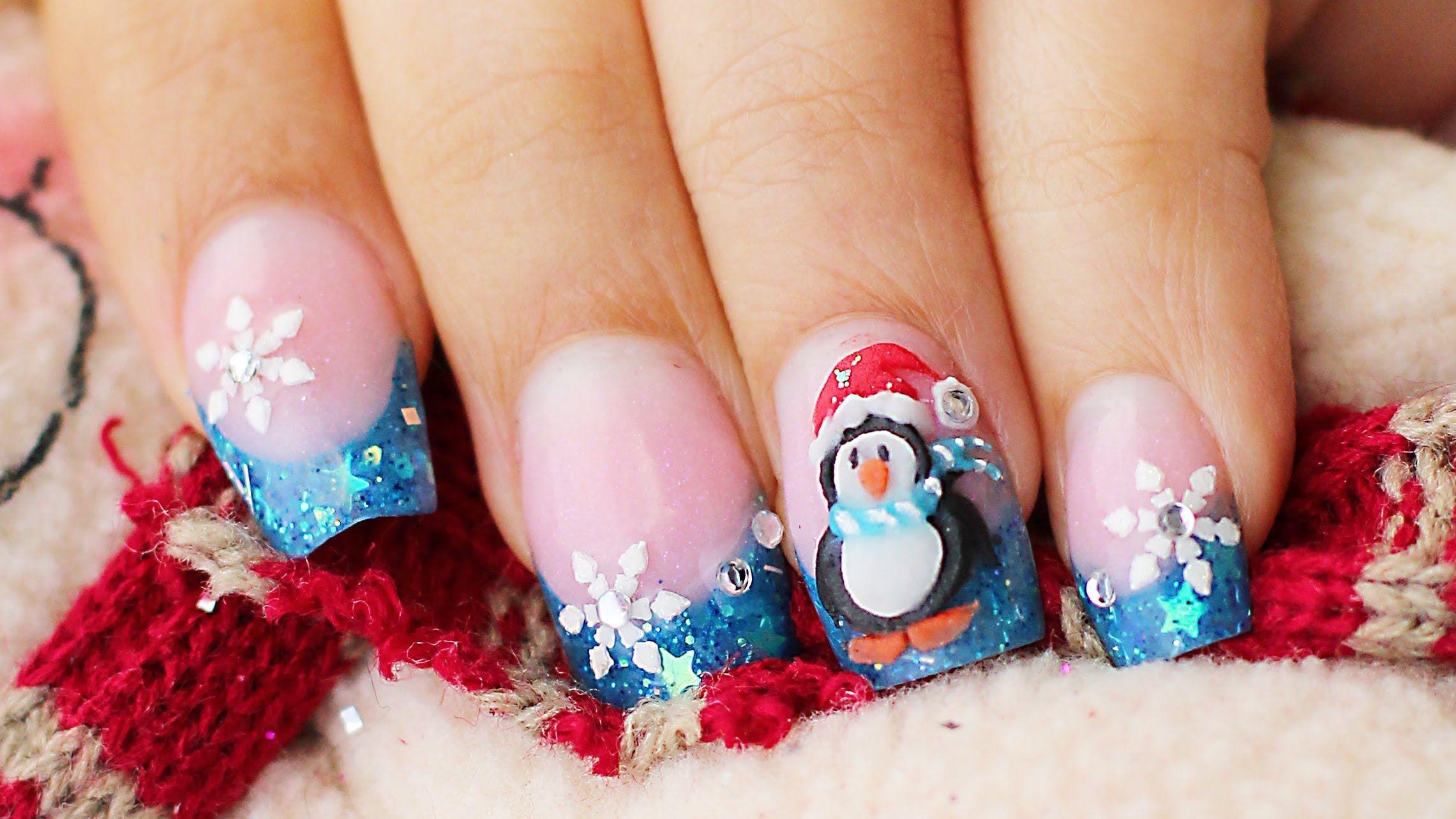 Como hacer Uñas pinguino en 3D relieve Navidad y glow in the dark ...