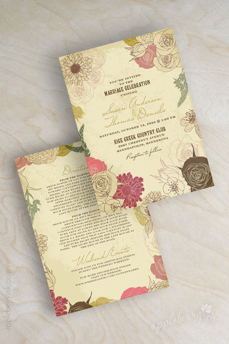 Botanical Rustic Shabby Chic Floral Garden Wedding Invitations Shown In Coral Pink Brown Neutral Colors Www Appleberryink Com