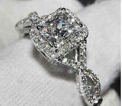 925 STERLING SILVER 5 CT TW CUSHION CUT CZ SOLITAIRE HALO ENGAGEMENT RING SZ 6.5
