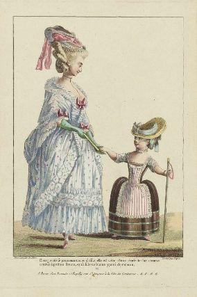 """""""Bourgeoise se promenant avec sa fille, elle est vêtue d'une étoffe de soie comme croisee à petites fleurs, et sa fille de buras garni de rubans"""", Gallerie des Modes, 1778; MFA 44.1306"""