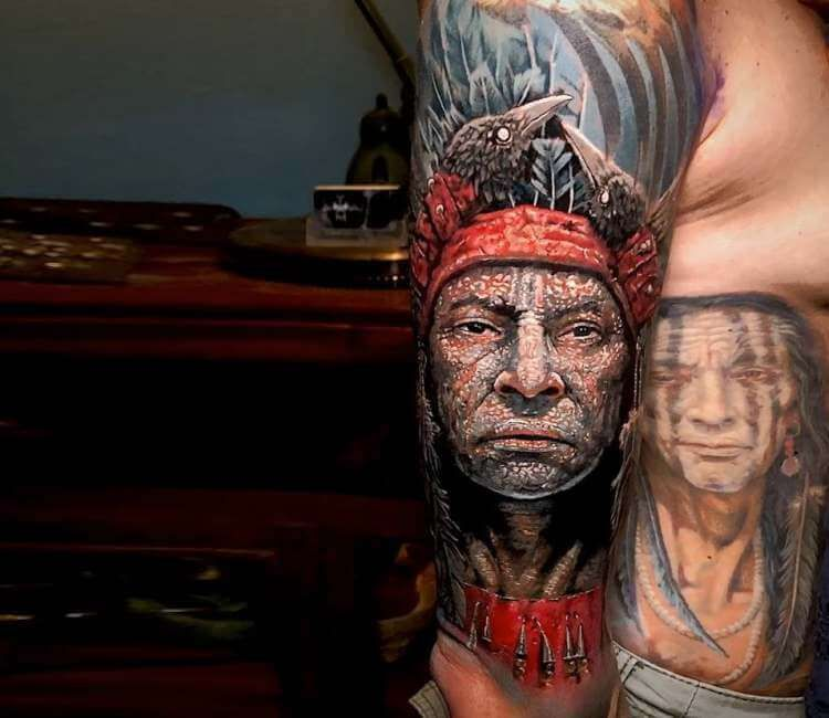 cd46fc40e674a Native american tattoo by Michael Taguet | Best tattoos | Native ...