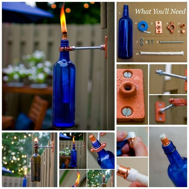 Turn old wine bottles into snazzy torches with some basic hardware and a wick srce project ; http://craft.ideas2live4.com/2015/03/16/glass-bottle-torch/