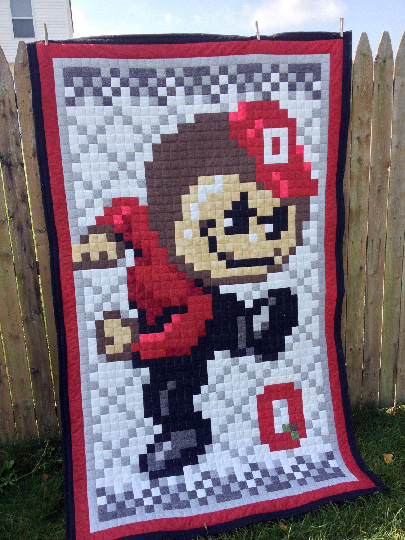 Osu Ohio State Digital 8 Bit Brutus Buckeye Quilt Made To Etsy Ohio State Crafts Ohio State Buckeyes Quilt Making