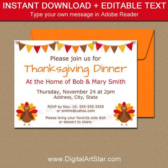 thanksgiving dinner invitation template turkey invitation