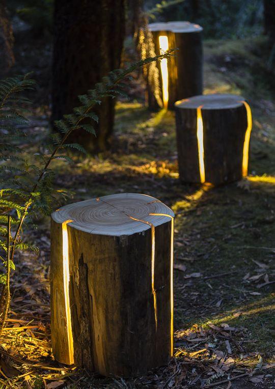 Coole Gartendeko Idee Für Moderne Gartengestaltung Mit Baumstümpfen Als  Gartenleuchten