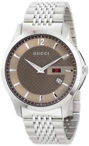 0a679419dfb Gucci Men s YA126310 G-Timeless Slim Case Brown Dial Signature Gucci Green  Red Green Web Design Watch
