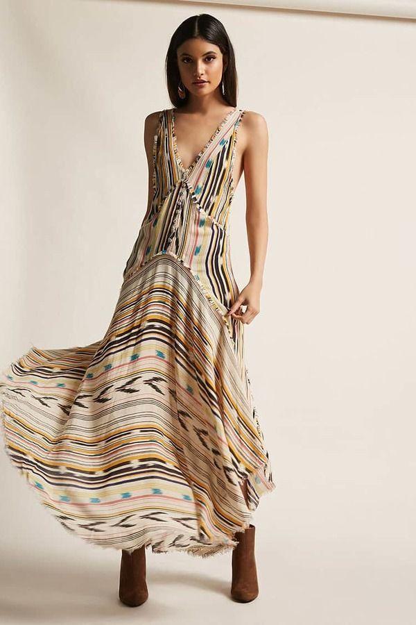 FOREVER 21 Z&L Europe Frayed Stripe Maxi Dress $78 #affiliate