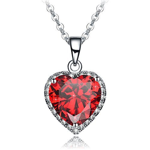 Valentine/'s Day Love Gift Heart Necklace Amethyst /& White Diamonds 14K White Gold Plated