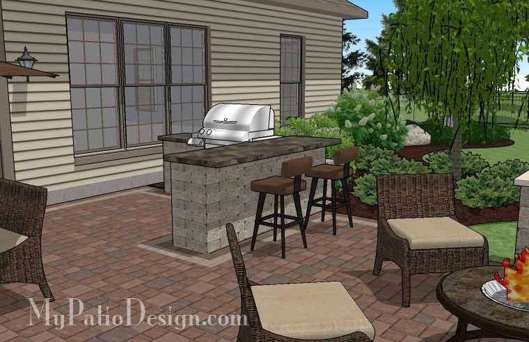 Creative Backyard Patio Design with Grill Station-Bar and ... on Patio Designs For Straight Houses id=97958