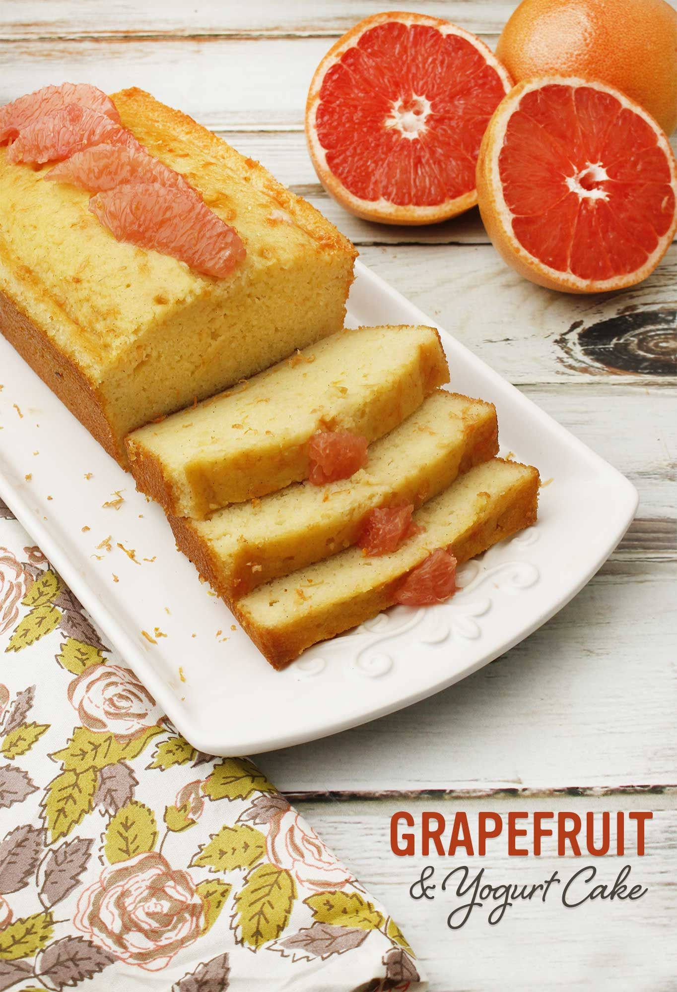 Deliciously moist with a tangy flavor from the yogurt and grapefruit. Though this makes a great dessert, it's also great for breakfast. Farm Fresh To You recipes.