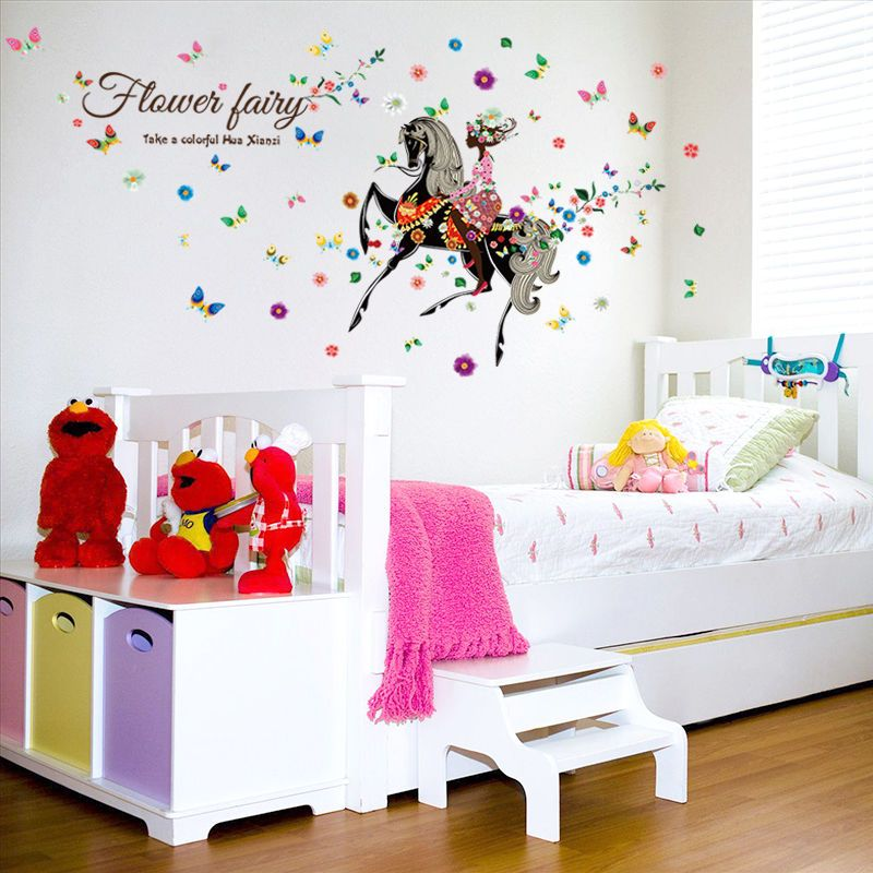 Flower girl horse riding vinyl kids bedroom wall sticker