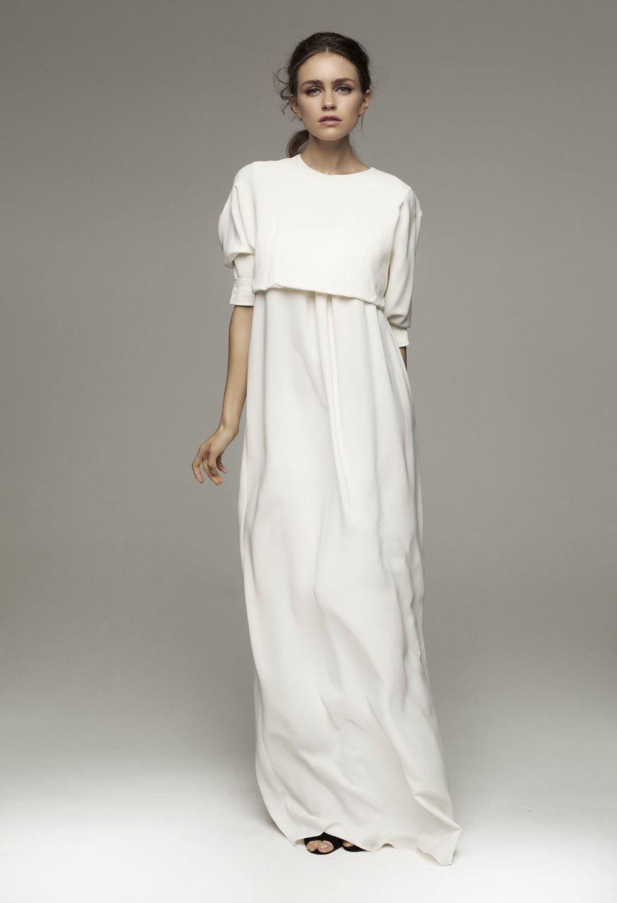 Kalmanovich spring simple floorlength white dress spring