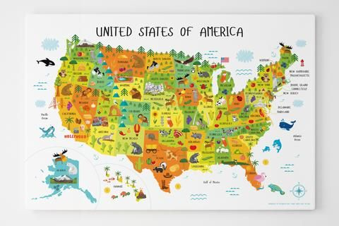 Usa Map For Kids Canvas 50 States