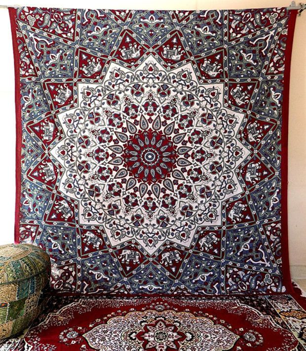 PSYCHEDELIC star mandala hippie tapestry wall hanging hippy bohemian boho bedding throw bedspread cover floral ethnic home decor