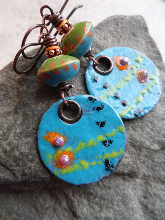 Happy! ... OOAK Enameled Copper, Ceramic and Copper Wire-Wrapped ...