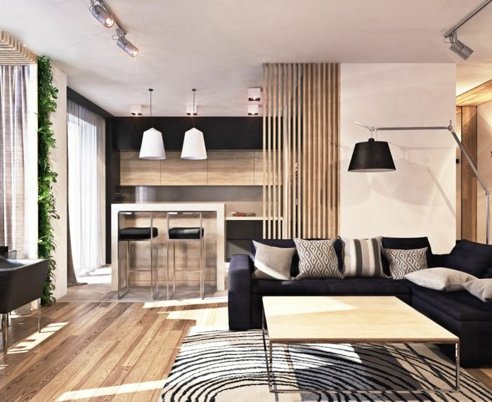 wohnzimmer sofa graues sofa teppichmuster trennwand küche ...