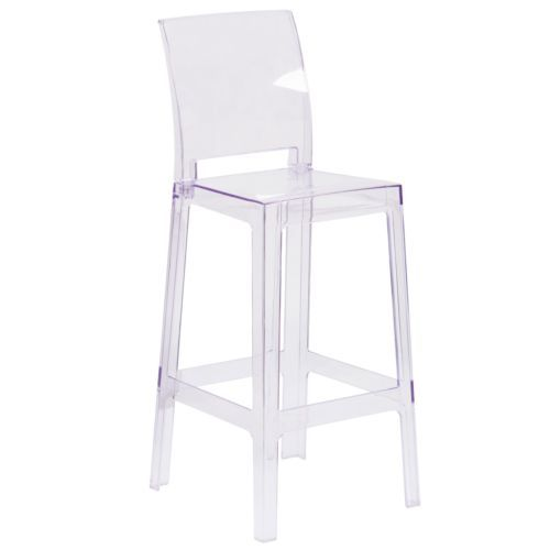 Set Of 2 Modern Square Back Ghost Bar Stool Chairs Transparent