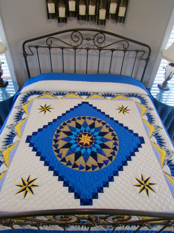 compass star quilt king size quilt amish quilt nautical quilt patchwork quilt hand made quilt quilted bedspread blue quilt