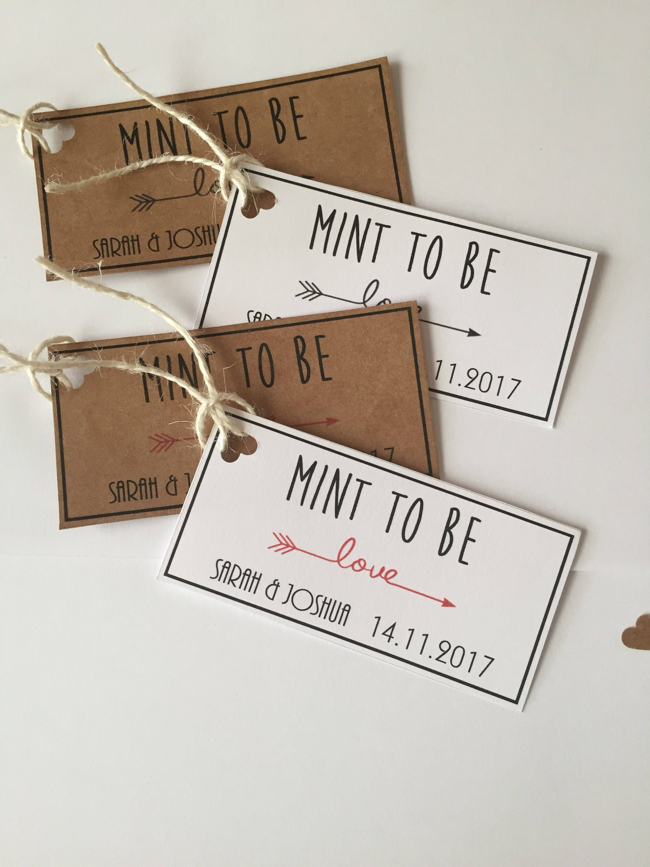 Mint to Be Wedding Favour Gift Tags by BespokeMomentsLND on Etsy ...