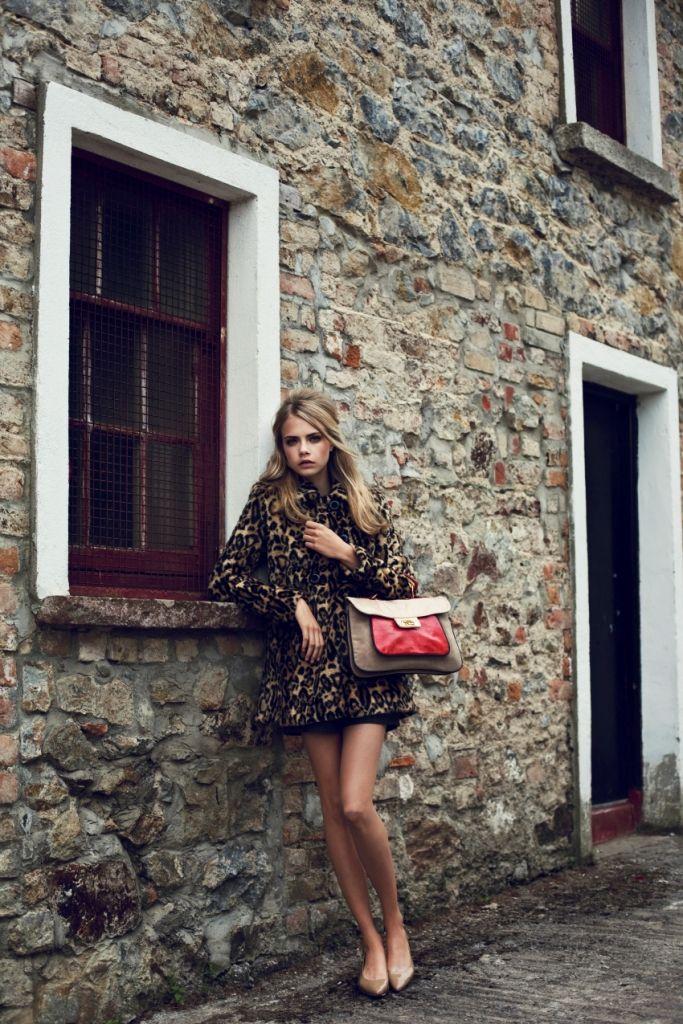 Leopard coat, nude patent flats, color-block bag