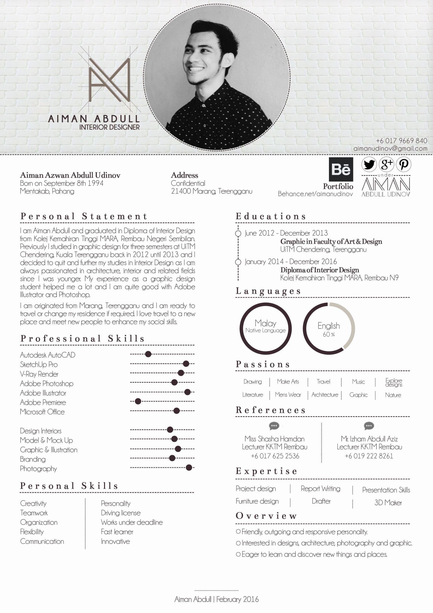 Interior Design Student Resume Beautiful Resume Of Aiman Abdull Resume Businesscard In 2020 Interior Design Resume Resume Design Creative Architecture Resume