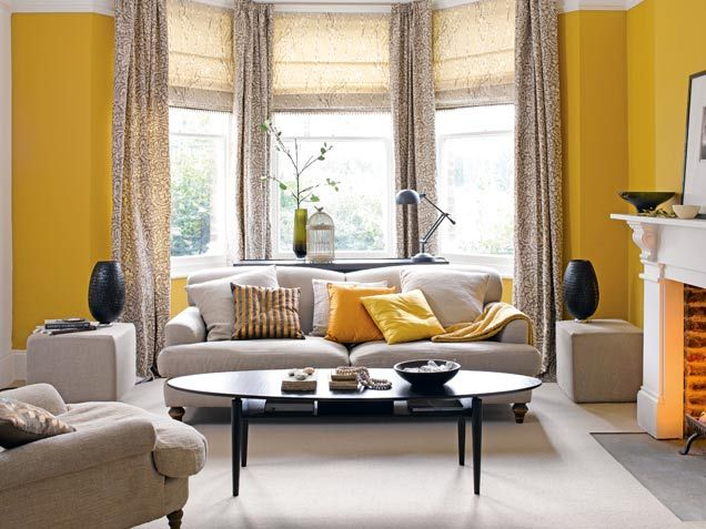 Saturated #yellow Walls Give A Warm Glow To Linen Upholstered Furniture. # Decor · Yellow Living RoomsLiving Room ...