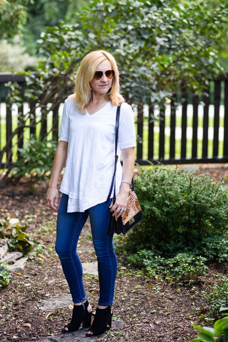 84604f6f3f726e Wilt White Short Sleeve Tee with Paige Skinny Ankle Jeans and Vince Camuto  Black Sandals