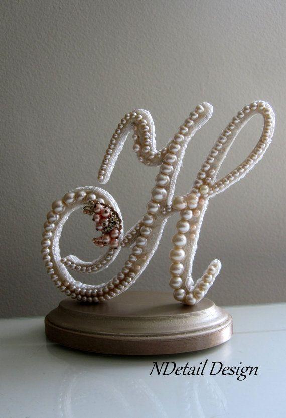 Wedding Cake Topper Display Monogrammed Pearl Letter H