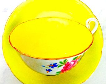 Reserved for S-Royal Grafton Sunny Yellow Rose Floral Tea Cup and Saucer - Edit Listing - Etsy