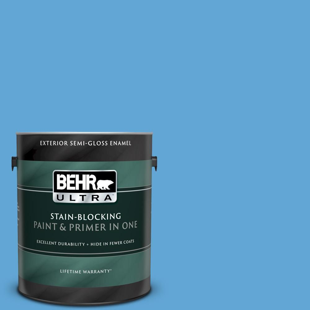 Behr Ultra 1 Gal 560b 5 Ocean Tropic Semi Gloss Enamel Exterior Paint And Primer In One 585401 Exterior Paint Paint Primer Behr