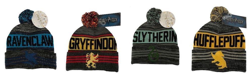 75c42d9fa39 Harry Potter Gryffindor Hufflepuff Ravenclaw or Slytherin Cuff Beanie Hat W  Pom  BW  Beanie