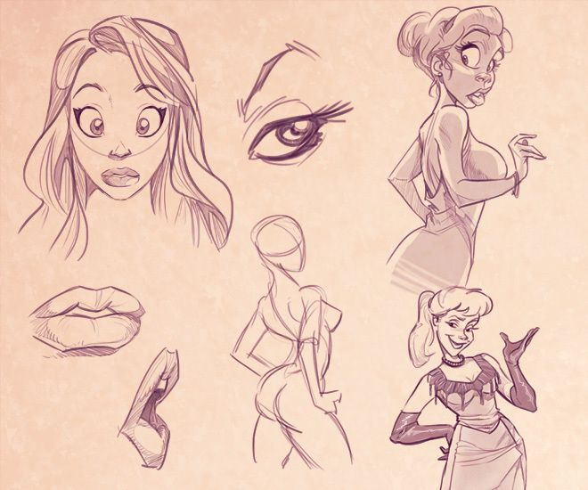 How To Draw Cartoon Women By Carlos Cabral Via Behance Cartoon Drawings Cartoon Girl Drawing Cartoon Drawings Sketches