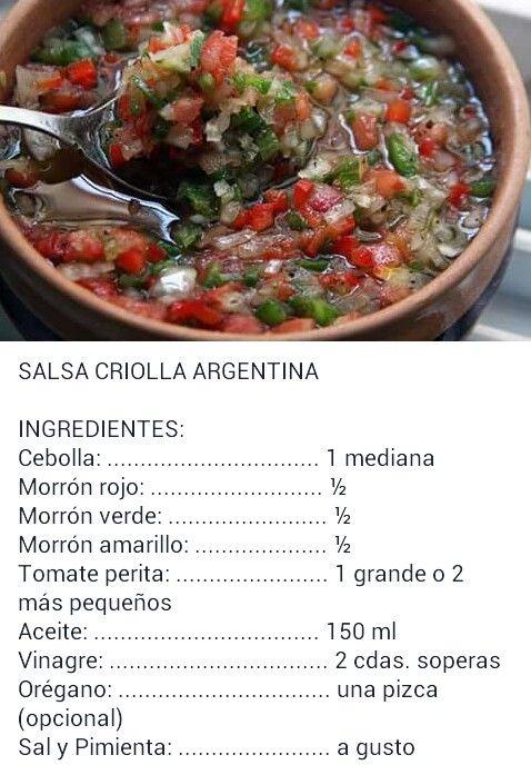 Salsa criolla argentina  Food en 2019  Recetas Recetas de salsas y Ensaladas para asado