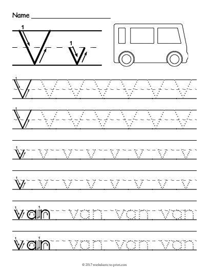 Free Printable Tracing Letter V Worksheet Tracing Worksheets