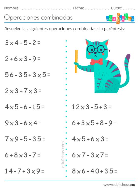 Operaciones Combinadas Matematicas Tercer Grado Ejercicios De Calculo Ejercicios Matematicos Secundaria