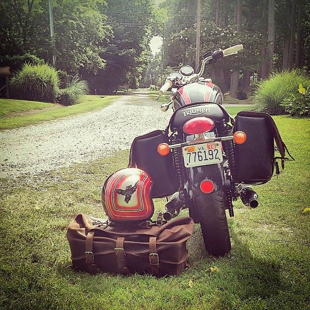 A Waterbag and Triumph. Doesn't get much better.   Saddleback Leather Co.   Waterbag   100 Year Warranty   $710 - $820