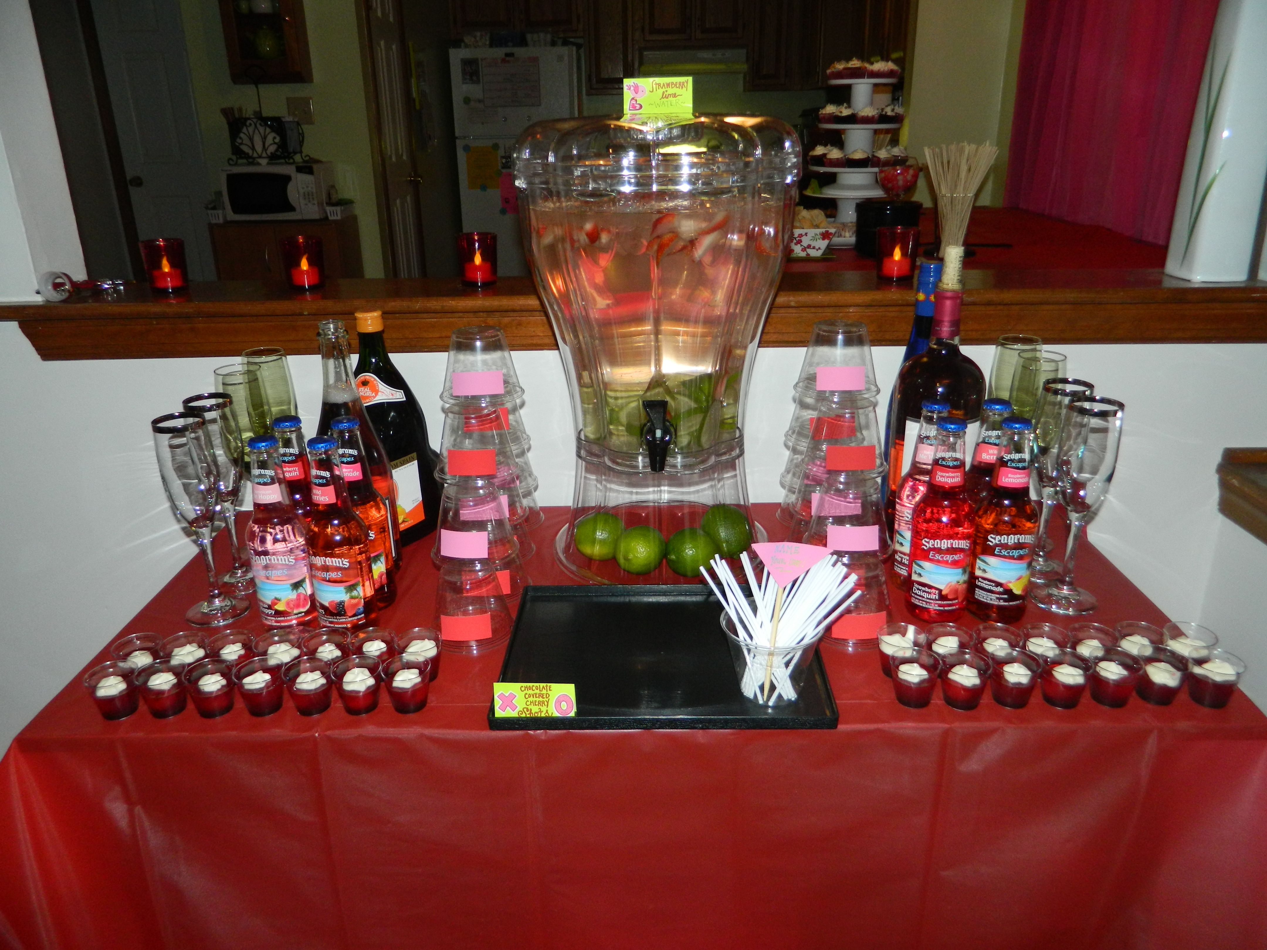 Beverage Station Flavored Water Wine And My Fave Chocolate Covered Cherry Shots P S Don T Chocolate Covered Cherries Strawberry Lime Flavored Water