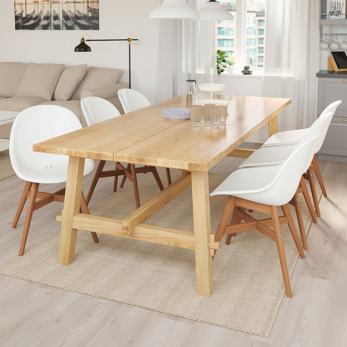Mockelby Fanbyn Tisch Und 6 Stuhle Eiche Weiss Ikea Osterreich In 2020 Ikea Dining Table Set Dining Room Small Ikea Dining Table