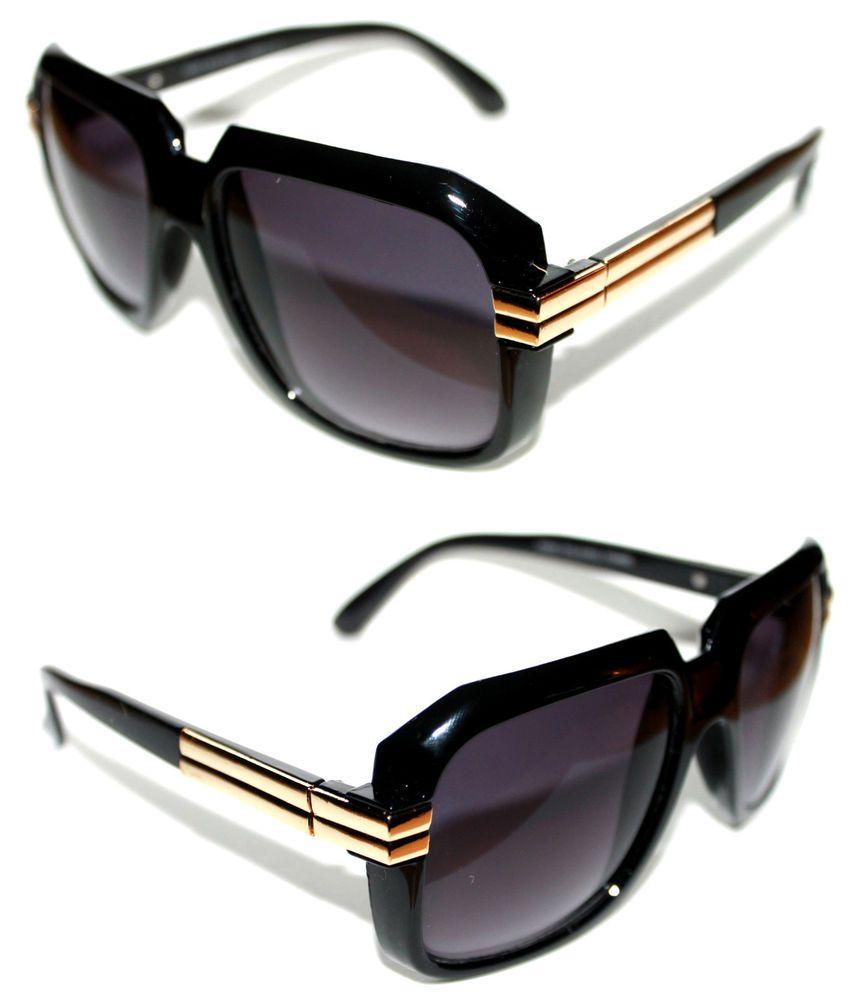 d431445e592f Men s Womens Vintage 607 Hip Hop Sunglasses Run DMC Black Gold Retro  Gazelle 80s  Unbranded  Square