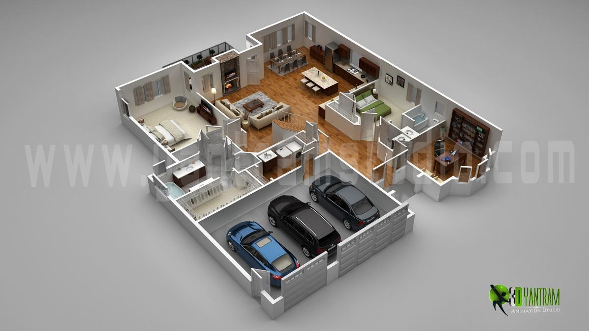 Floor plan for 3d modern home with parking slot 3d floor for Modern home design 3d
