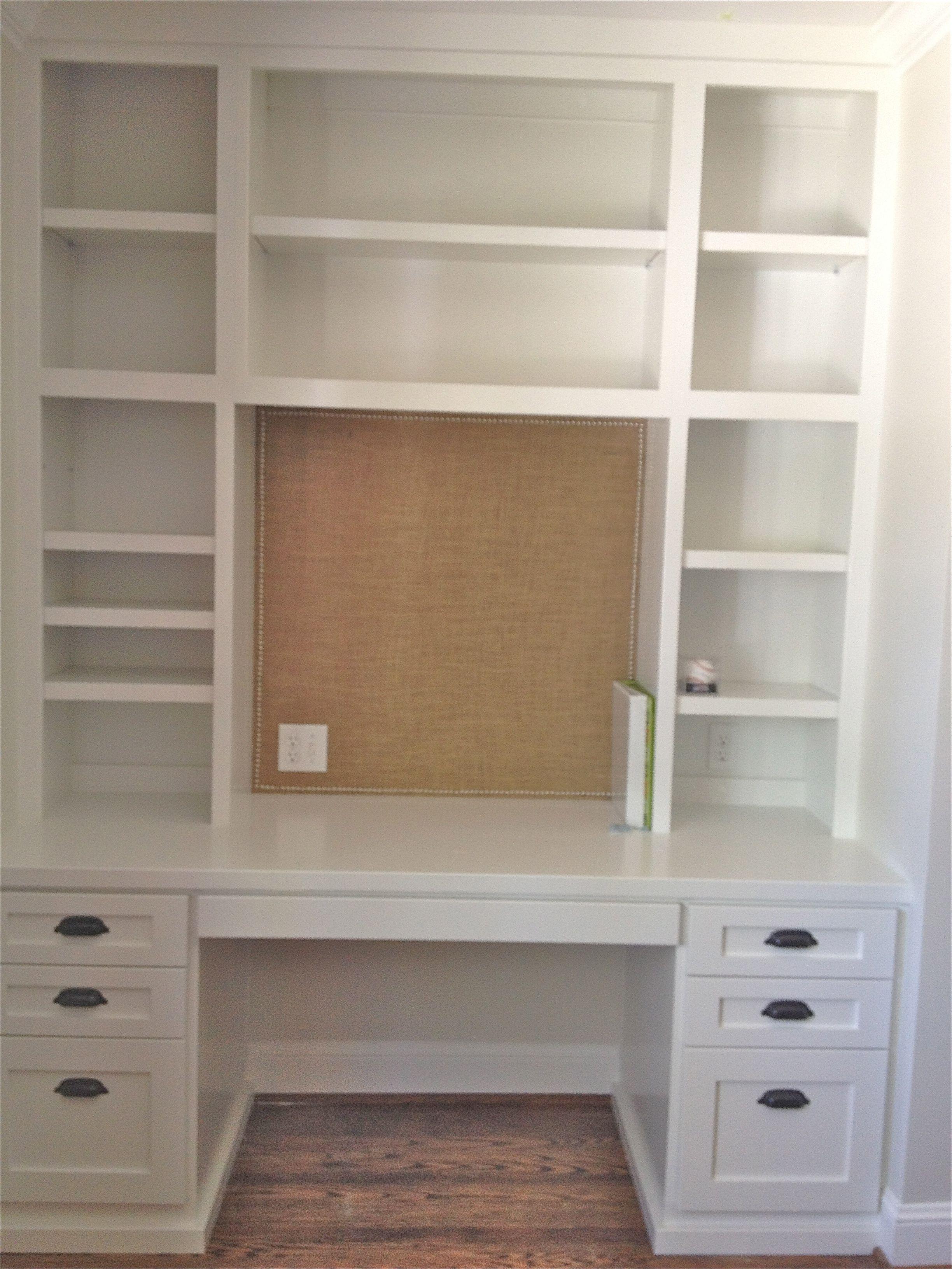 Desks + Bulletin Boards + Burlap Built in desk, Closet