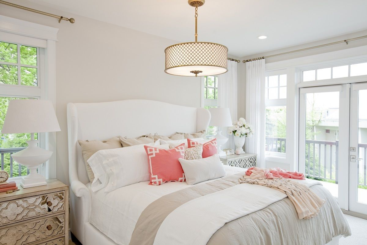 PNE Prize Home   Bedrooms   Coral Deco Pillow, Sophisticated Bedroom, Brass  Drum Pendant, White Wingback Bed, White And Taupe Bedding